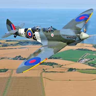 Into the blue fly a spitfire